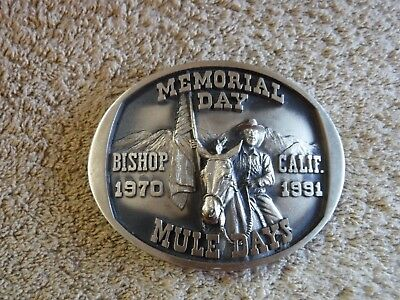 Belt Buckle Memorial Day Mule Days Bishop CA Limited Edition Solid Bronze