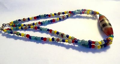 Ancient  Multi-Color Variety Sizes Carnelian beads Neckland Thailand.