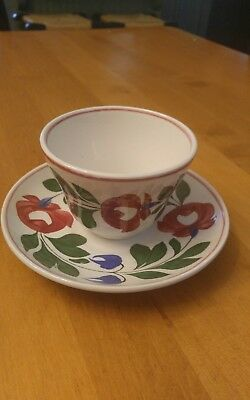 Beautiful Hand Painted Staffordshire Adams Rose Handleless Cup & Saucer