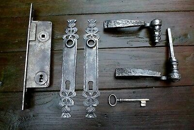 Vintage large metal door lock with new covers and handles beautiful covers B