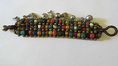 ANCIENT MULTI-COLOR Variety Sizes  Beads  Rope Style  Bracelet  THAILAND.