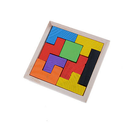 Wooden Tangram Jigsaw Tetris Puzzle Toy For Kids 9Pieces Educational Game SEAU