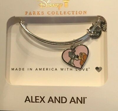 Disney Alex and Ani Lady and Tramp Pink Heart Silver Bangle Bracelet NEW In Hamd