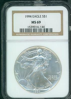 1994 American Silver Eagle ASE S$1 NGC MS69 MS-69 SEMI KEY DATE