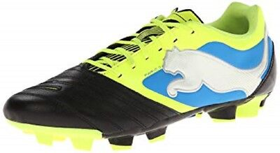 Puma PowerCat 3 FG Black Yellow Blue Leather And Synthetic Soccer Cleats  Size 7 5e2384e44