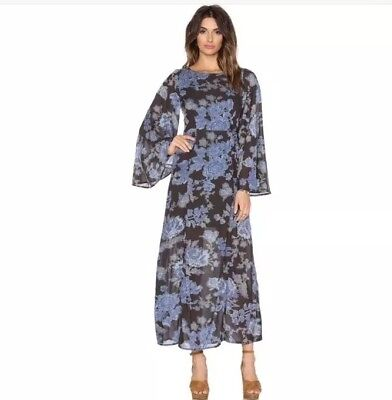 20b703a3b Free People Melrose Floral Maxi Dress Long Sleeves Night Combo 2 XS NWT $148