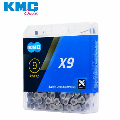 KMC X9 Bicycle Chain Fit for SHIMANO SRAM&9 Speed Drivetrains Silver Gray