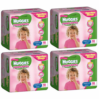 72PK Huggies Junior Size 15kg+ Fuss-Free Nappy/Diaper Pants Girls Infant/Bear