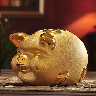 Gold Chinese Happiness Pig Piggy Bank Zodiac 2019 year Mascot Home Decor Gift