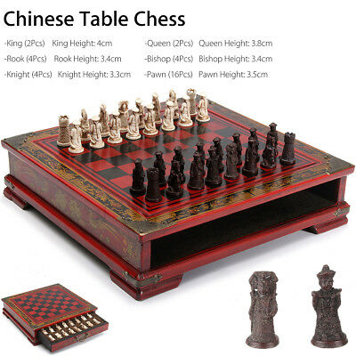 Vintage Resin Chinese Terracotta Warrior Chess Wooden Table Board Game Set