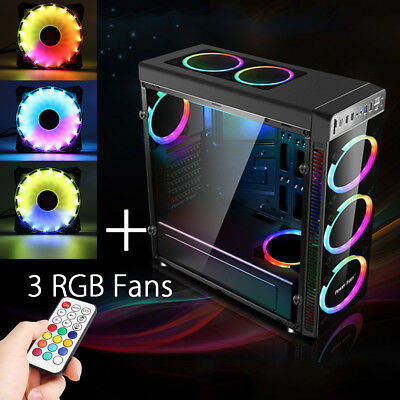 Gaming Computer ATX PC Case Cover Mid Tower Chassis USB3.0 w/ 3 RGB Cooling  AU