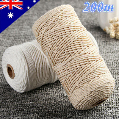 220M Beige Rope Natural Cotton Macrame Twisted Cord String Craft Artisans 2MM