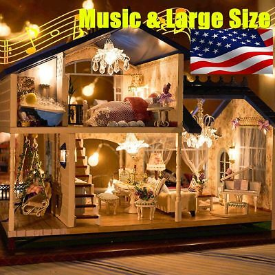 Newest Musical Diy Dollhouse Doll House Miniature Room Kit Toy Furniture Box Gif