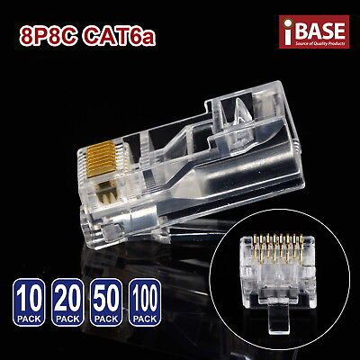 RJ45 Connector Modular Plug Crimp 8P8C CAT6a CAT5e CAT6 LAN Network Ethernet
