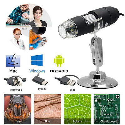 1000X 8 LED USB Digital 1080P Microscope Endoscope Zoom Camera Magnifier +Stand