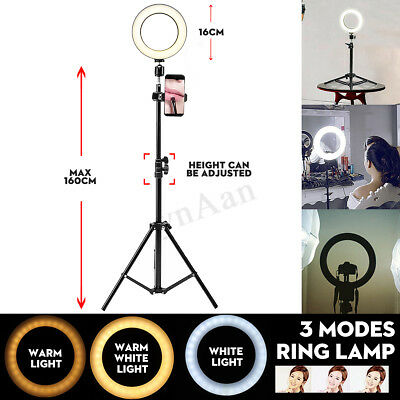 USB LED Ring Lamp Dimmable&Light 1.6m Stand Kit Phone For Photography Video Live