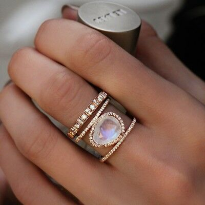 Luxury Topaz Zircon Silver Plated Womens Engagement Ring Jewelry Size 6-10 NJ309