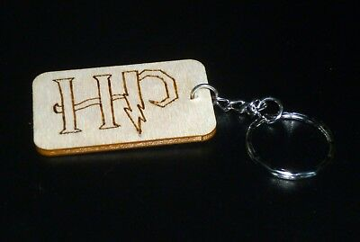 Harry Potter Hand engraved Wooden Keyring key Fob Clip Bag Tag Gift 4 Types
