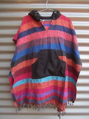 Wool Puncho With Hood Multi Coloured Wool Made In Nepal