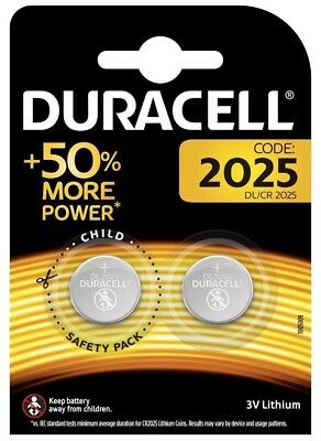 2 X Duracell CR2025 3V Lithium Coin Cell Battery, DL2025, BR2025