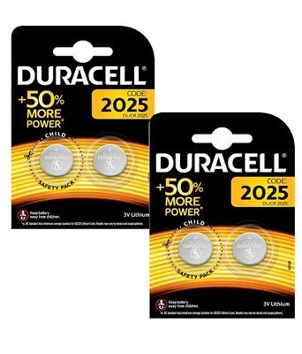 4 X Duracell Cr2025 3V Lithium Coin Cell Battery 2025 Dl/Br2025