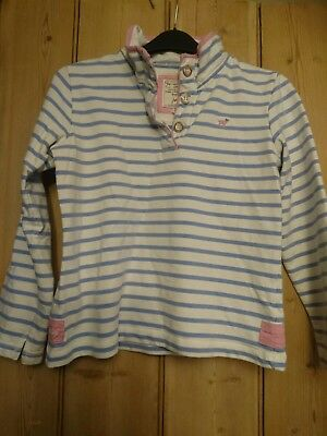 Joules girls blue and white top sweatshirt jumper 9-10 Years