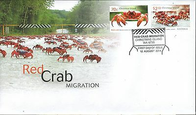 CHRISTMAS Island 2014 - RED CRAB Migration  Complete set of 2 Stamps on FDC