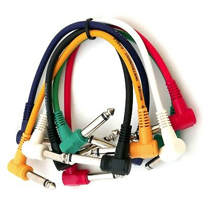 7 Pack Plug Angled Leads Cables Patch For Guitar Effect Pedal 7 inch 6.5mm Jack