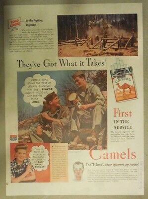 Camel Cigarette Ad: US Army Engineer Corp Size: Tabloid Page