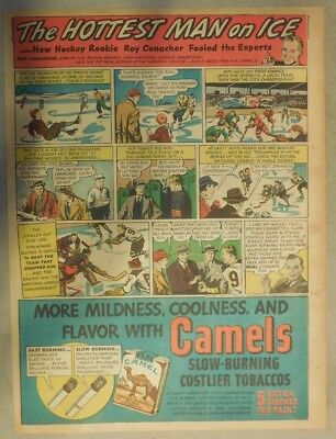 Camel Cigarette ad: Hockey Champion  Roy Conacher from 1940 Tabloid Page Size!