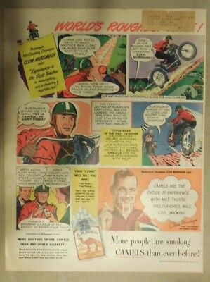Camel Cigarette Ad: Motorcycle Racer Clem Murdaugh Size: Tabloid Page