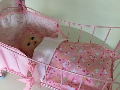 Dolls Blanket & Pillow Cot/pram Bedding Set Pretty Pink Unicorns Baby Annabell