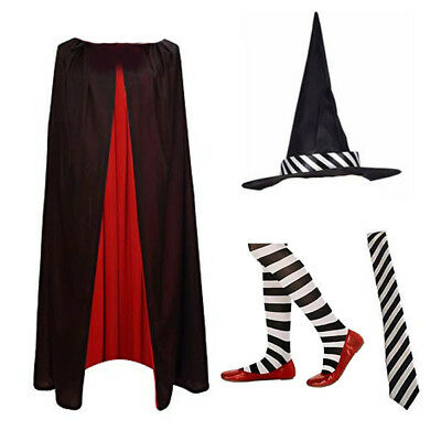 Childrens Girls Striped Witch Hat Cape Tights Fancy Dress Costume World Book Day