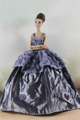Fashion Party Gray Flower Dress Evening  Clothes/Gown For 11 inch. Doll