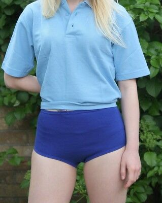 School Gym Knickers Size 16 34inch waist PE Netball Briefs Cotton Royal Blue