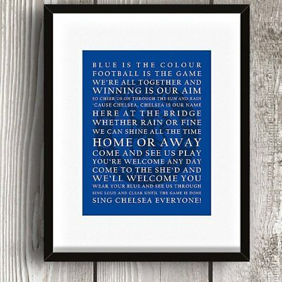 Chelsea Football Club Lyrics Words Song Print Picture Gift Logo