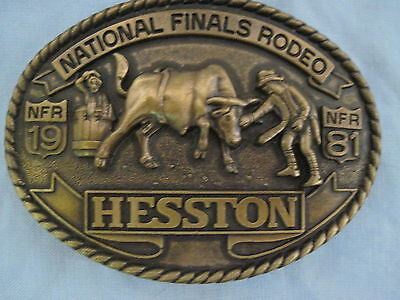 1981 HESSTON NATIONAL RODEO FINALS BELT BUCKLE NFR Western BRASS ADULT Large