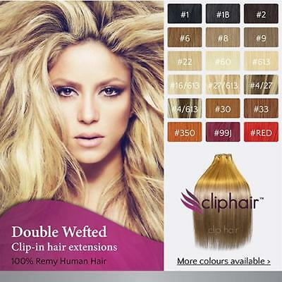 "16"" Double Weft Full Head Premium Clip in Human Hair Extensions UK 
