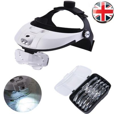 Headband Head-Mounted 2 LED Lamps Light Jeweler Magnifier Magnifying Glass Loupe