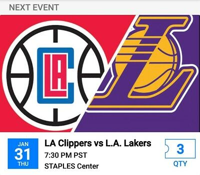 Los Angeles Clippers vs Los Angeles Lakers 3 tickets for 01 31 2019 Lebron 67eced69d4ee