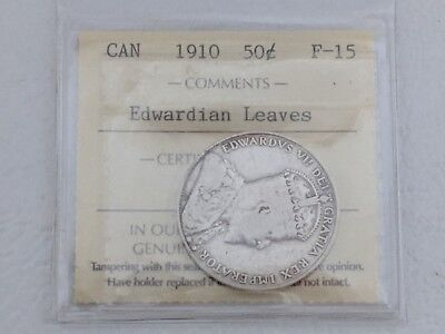 1910 Edwardian Leaves 50 Cent Canada ICCS F-15