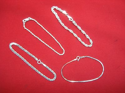 4 Pc. Sterling Silver Bracelet Group - All Italian Made And Each Different
