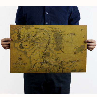 The Lord of the Rings MIDDLE EARTH MAP Vintage Style Kraft Paper Movie Poster