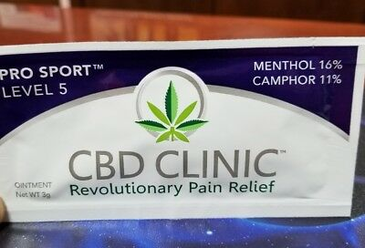 3 CBD Clinic Level 5 Pro Sport Pain Relief - 3g each SAMPLE SIZE try me 3 packs
