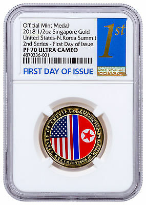 2018 Singapore US Korea Summit 1/2 oz Gold Proof Medal NGC PF70 UC SKU55950