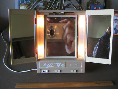 Vintage Sears Makeup Mirror Lighted 2 Sided Magnifying Model 8965 70s RARE