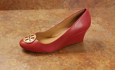 c274a2ca1d02 Tory Burch  Chelsea  Wedge Pumps Red Gold Leather Womens 9.5 M MSRP