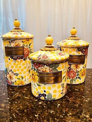 Mackenzie Childs Buttercup (Retired) Pattern  Set Of (3) Canisters