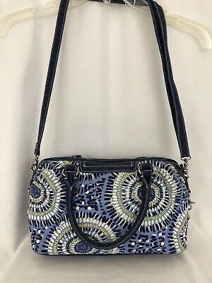 Vera Bradley Starry Night Satchel Shoulder Bag Crossbody Blue Geo Cloth SH362