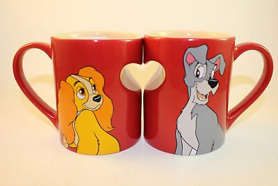 NEW Disney Store LADY & the TRAMP Red Heart Ceramic Coffee Mug Cup Set valentine